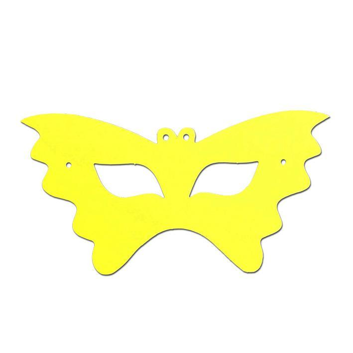 Childrens Masks - Butterfly Childrens Cardboard Neon Mask - Yellow