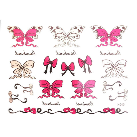 Bows Temporary Tattoo Themed Sheet bow, colour, sheet, stock, tattoo, themed, wholesale