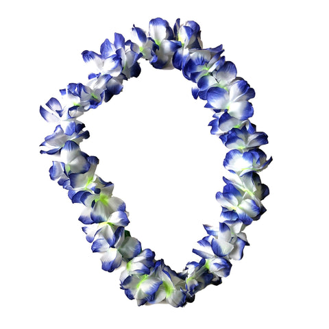 Fancy Dress Costume Accessory - Floral Lei - Blue/White