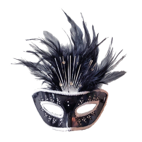 Black Crowned Masquerade Mask With Feathers