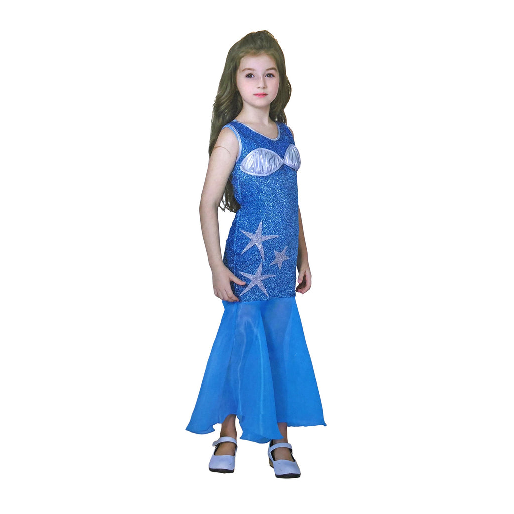 Fancy Dress Costume - Sparkly Turquoise Blue Mermaid Costume For Girls
