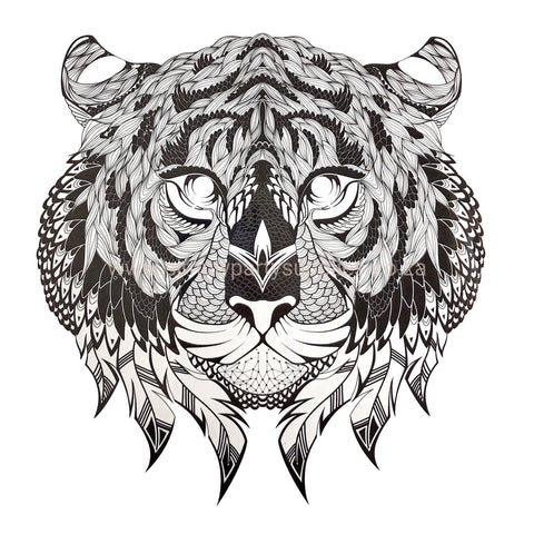 Tribal Cat Large Temporary Tattoo animal, black, cat, large, stock, tattoo, tiger, tribal, wholesale