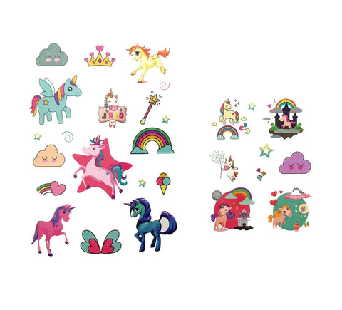 Unicorn Theme Childrens Tattoos animal, childrens, cloud, colour, crown, girl, girls, heart, horse, kids, mini, rainbow, sheet, tattoo, themed, unicorn, wholesale