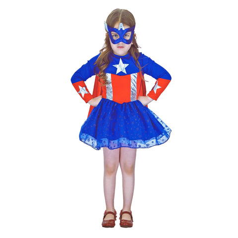 Captain America Girl Costume 7-9yrs - Fancy Dress Costume - Simply Party Supplies