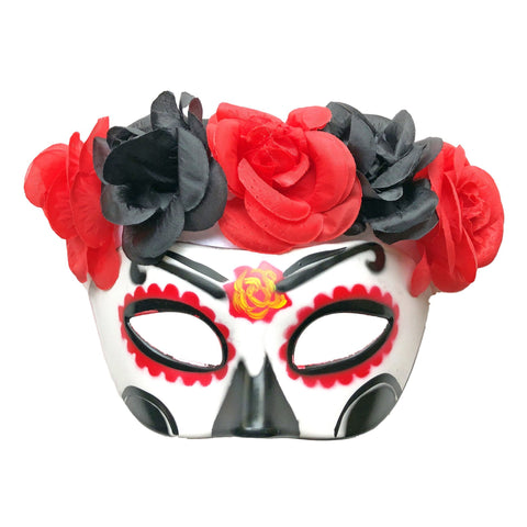 Day Of The Dead Masquerade Mask With Floral Band Black and Red