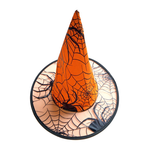 Spiders Web Mesh and Satin Witches Hat - Orange