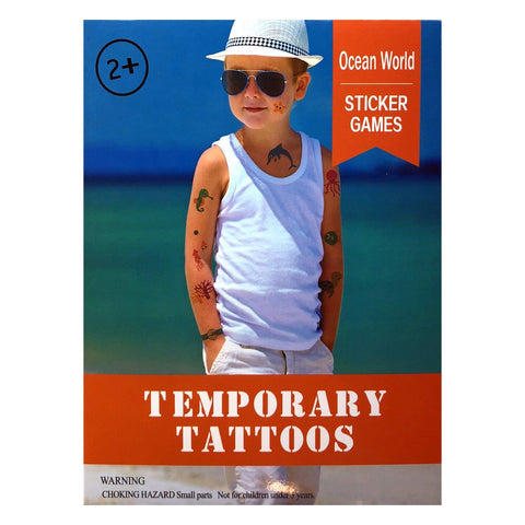 Kids Ocean Temporary Tattoo Pack animal, boy, boys, childrens, colour, dolphin, fish, girl, girls, kids, nautical, sea, stock, tattoo, wholesale