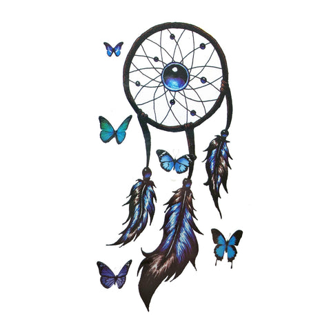 Butterfly Dreamcatcher Small Temporary Tattoo colour, dream catcher, dreamcather, feather, mini, small, tattoo, wholesale