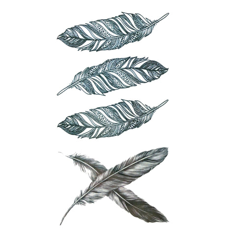 Four Feathers Small Temporary Tattoo feather, mini, small, tattoo, wholesale