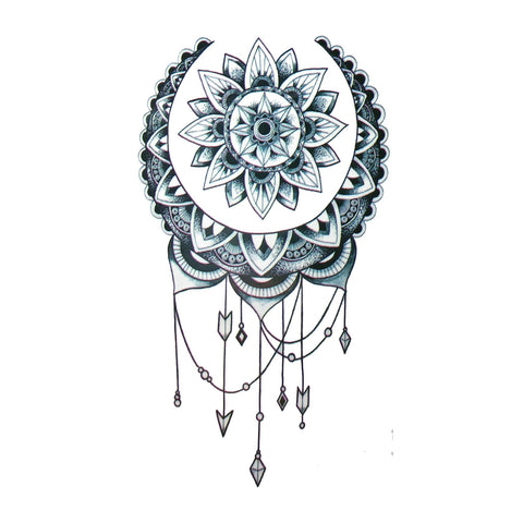 Black Flower Dreamcatcher Small Temporary Tattoo dream catcher, dreamcather, mini, small, tattoo, wholesale