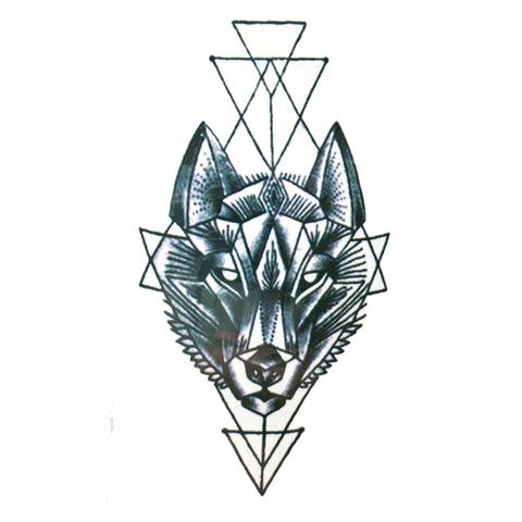 Geometric Wolf Small Temporary Tattoo geometric, mini, small, tattoo, wholesale