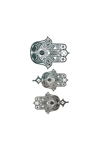 Three Hamsa Hands Small Temporary Tattoo henna, mini, small, tattoo, wholesale
