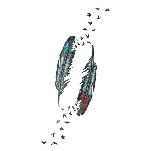 Colour Feather To Birds Small Temporary Tattoo animal, bird, feather, mini, small, tattoo, wholesale