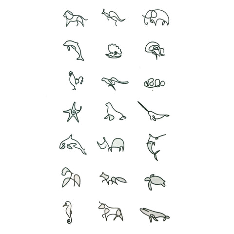 Animal Doodle Small Temporary Tattoo animal, animals, mini, small, tattoo, wholesale