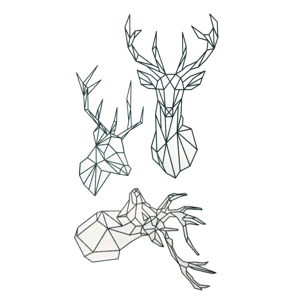 Geometric Deer Small Temporary Tattoo animal, geometric, mini, rose, small, tattoo, wholesale
