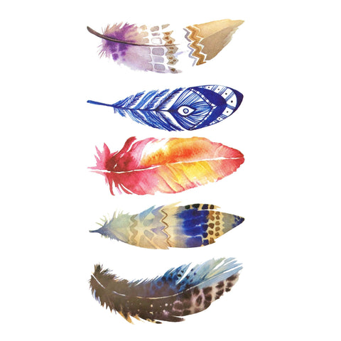 Five Colour Feathers Small Temporary Tattoo animal, colour, feather, mini, small, tattoo, wholesale