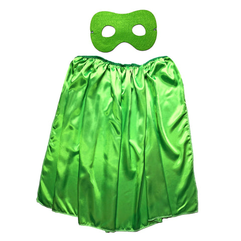 Children's Superhero Satin Cape And Mask Set - Lime Green