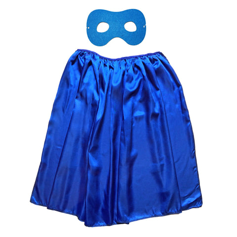 Children's Superhero Satin Cape And Mask Set - Blue - Fancy Dress Costume - Simply Party Supplies