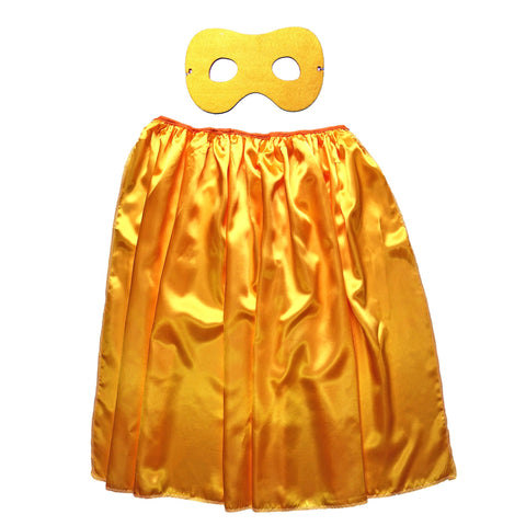 Children's Superhero Satin Cape And Mask Set - Golden Yellow - Fancy Dress Costume - Simply Party Supplies