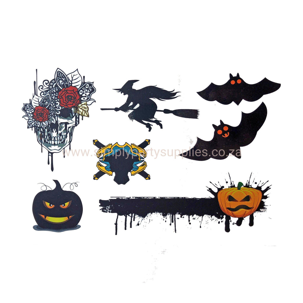 Halloween Witch And Bat Temporary Tattoo Themed Sheet colour, halloween, sheet, tattoo, themed, wholesale, witch