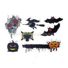 Halloween Witch And Bat Temporary Tattoo Themed Sheet