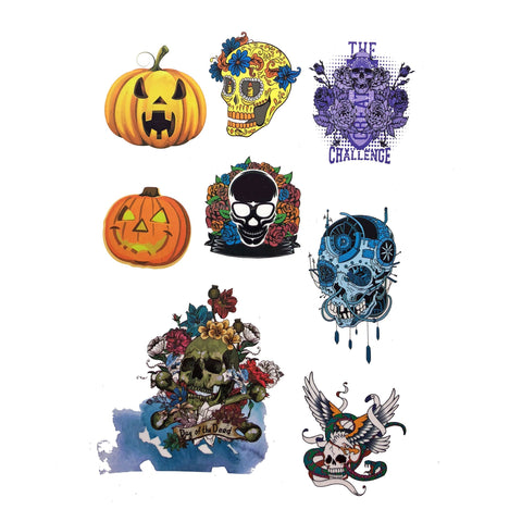 Halloween Skulls And Pumpkin Temporary Tattoo Themed Sheet colour, halloween, sheet, skull, tattoo, themed, wholesale