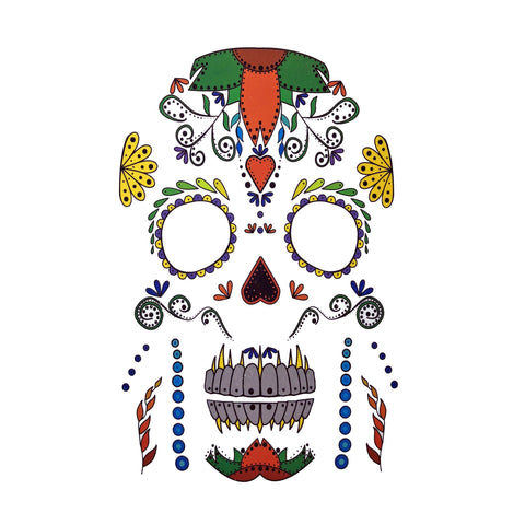 Halloween Day Of The Dead Temporary Tattoo Themed Sheet colour, day of the dead, halloween, sheet, skull, tattoo, themed, wholesale