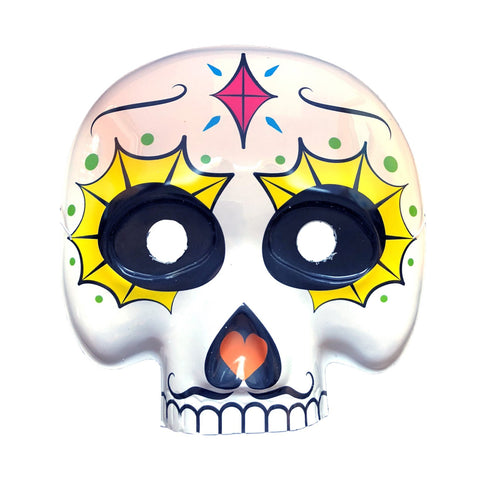 Day Of The Dead Masquerade Mask - Yellow Web Eyes