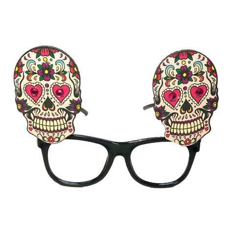 Day Of The Dead Glasses - Flower and Heart Design