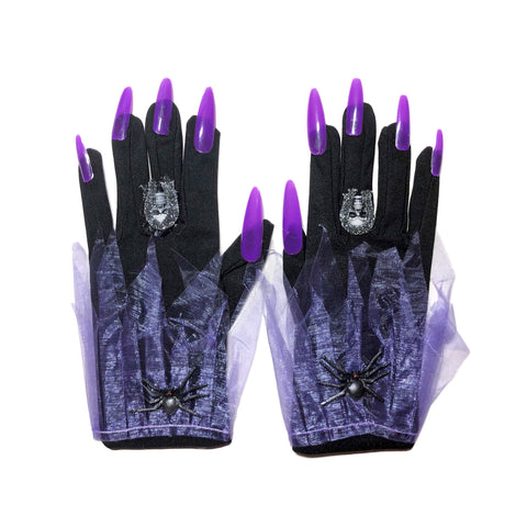Witches Day Of The Dead Gloves with Nails