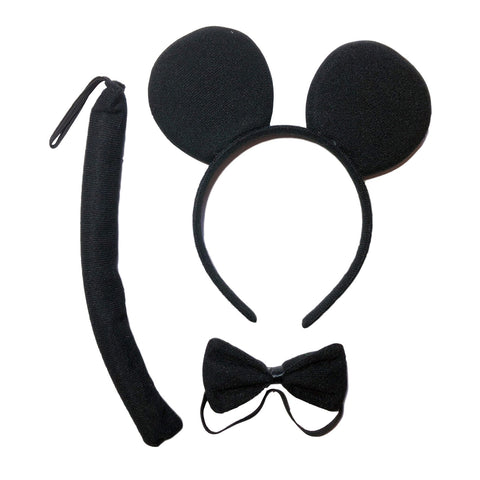 Childrens Mickey Mouse Ears, Tail and Bow Tie Set