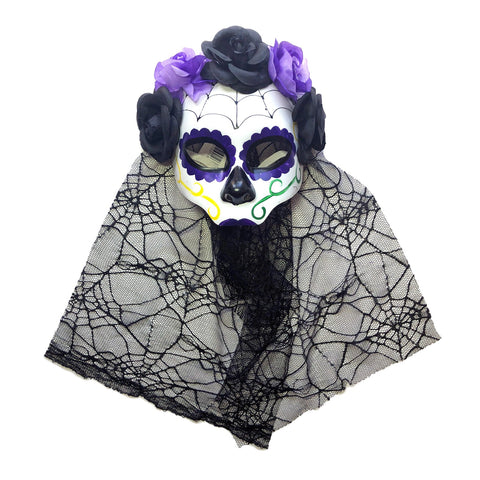 Day Of The Dead Net Mask With Purple and Black Floral Band black, day of the dead, fancy dress, festival, halloween, masks, masquerade, purple, venetian, womens