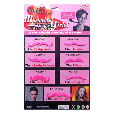 Ladies Pink Moustcahe Set accessories, costume, facial hair, fancy dress, great gatsby, ladies, moustache, mustache, pink