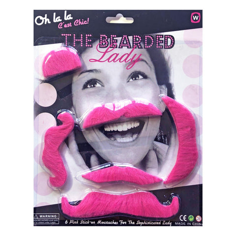 Ladies Pink oh la la Moustcahe Set accessories, costume, facial hair, fancy dress, great gatsby, ladies, moustache, mustache, pink