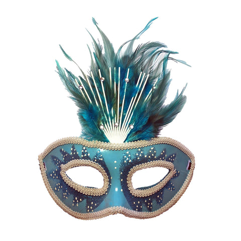 Turquoise Blue Crowned Masquerade Mask With Feathers adult one size, blue, carnival, fancy dress, feathers, mardi gras, masks, masquerade, rio carnival, stock, turquoise, venetian, womens
