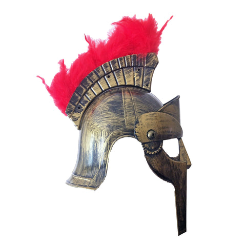 Adult Gladiator Helmet With Feathers - Brushed Gold adult one size, armor, fancy dress, game of thrones, gladiator, gold, helmet, knight, masks, masquerade, mens, roman, stock