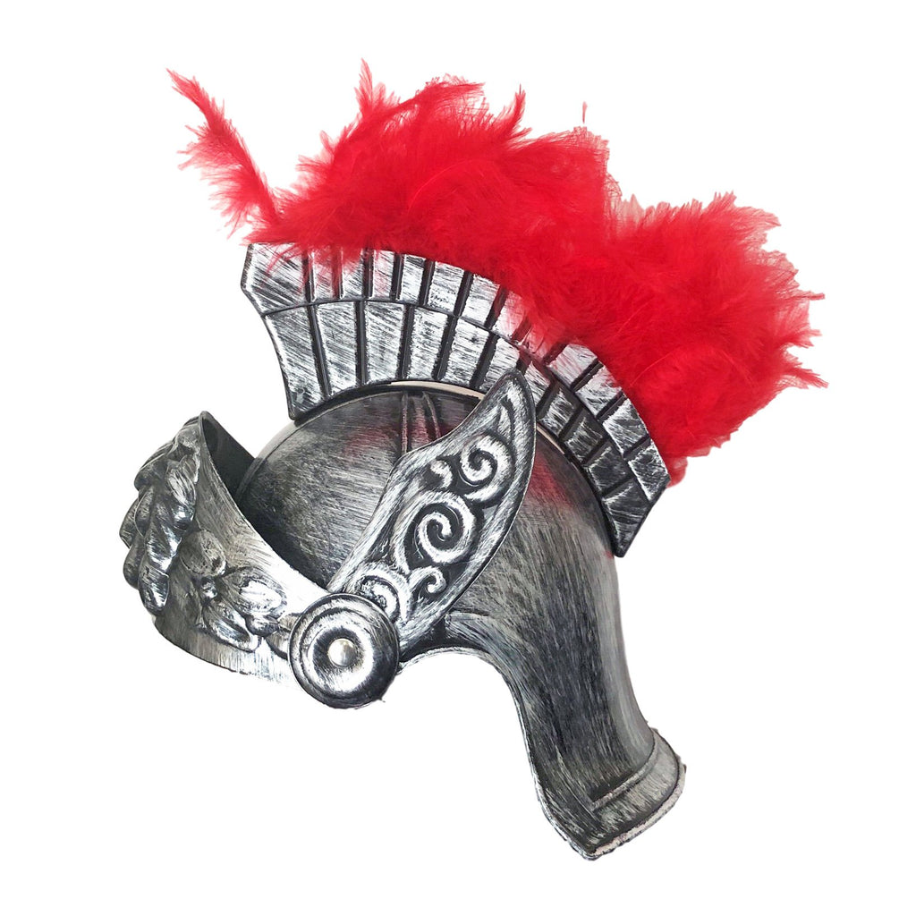 Adult Gladiator Helmet With Feathers - Brushed Silver adult one size, armor, fancy dress, game of thrones, gladiator, helmet, knight, masks, masquerade, mens, roman, silver, stock