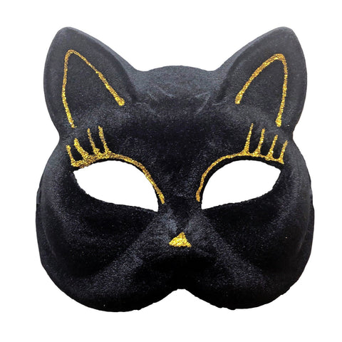 Black Flocked Velvety Cat Masquerade Mask with Gold Detail