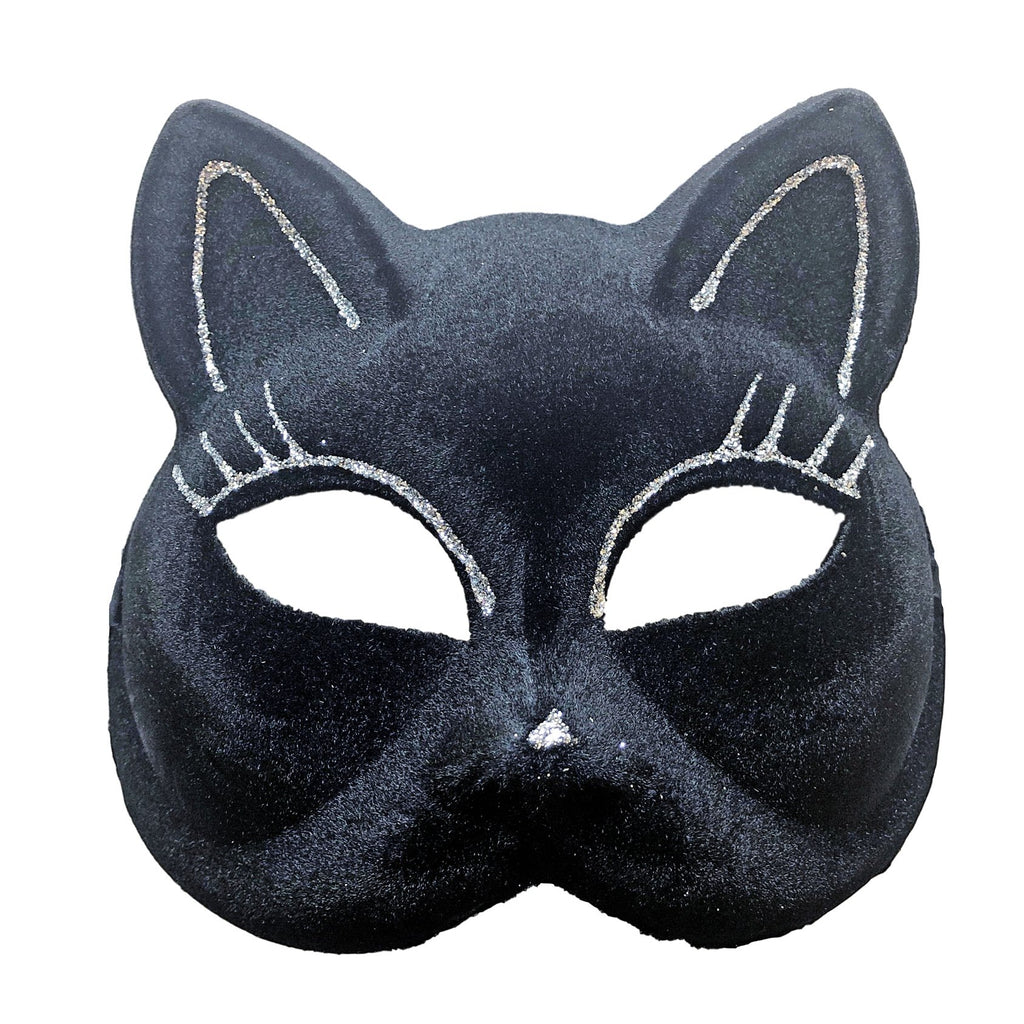 Black Flocked Velvety Cat Masquerade Mask with Silver Detail - Masquerade Mask - Simply Party Supplies