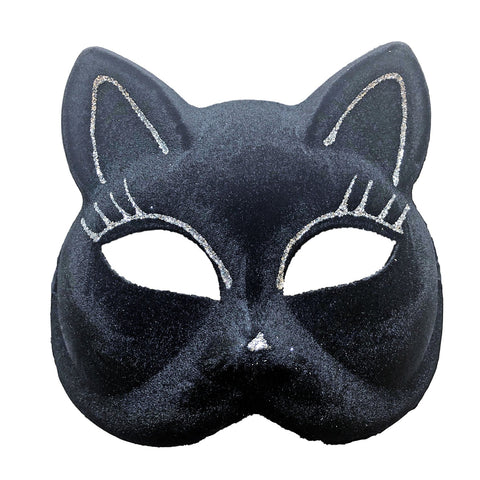 Black Flocked Velvety Cat Masquerade Mask with Silver Detail