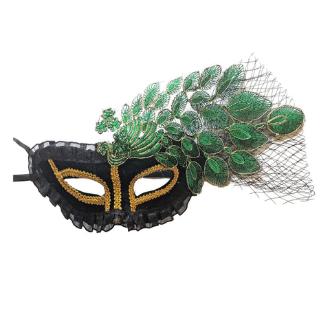 Deluxe Masquerade Mask With Netting and Leaf Pattern Green