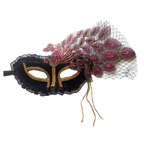 Deluxe Masquerade Mask With Netting and Leaf Pattern Cerise Pink
