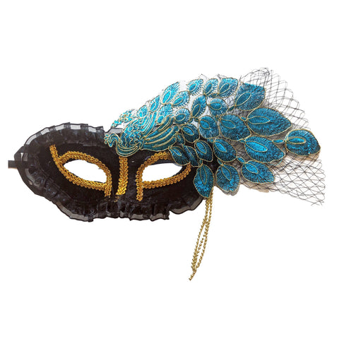 Deluxe Masquerade Mask With Netting and Leaf Pattern Blue