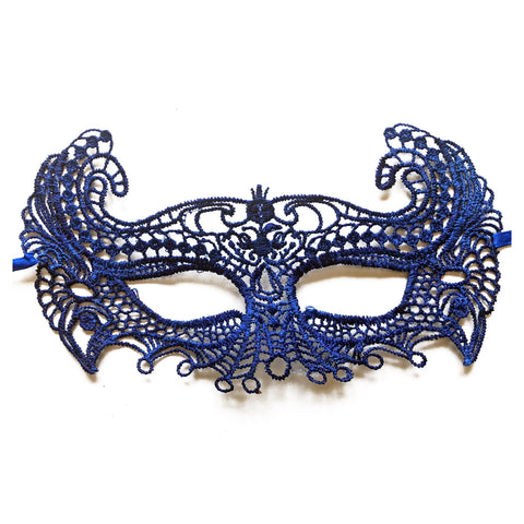 Economy String Masquerade Mask Fancy Royal Blue adult one size, blue, budget, cotton, economy, fancy dress, lace, masks, masquerade, venetian, womens