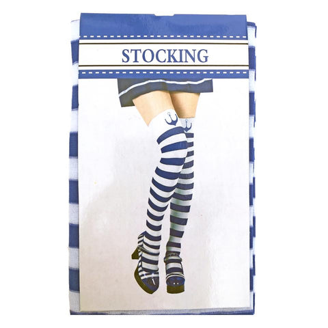 Blue and White Sailor Stockings accessories, adult, adult one size, adults, alice in wonderland, costume, fancy dress, nautical, sailor, stock, stockings, womens