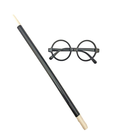 Harry Potter Style Glasses And Wand accessories, black, boys, childrens, fancy dress, funny, glasses, harry potter, masquerade, wand