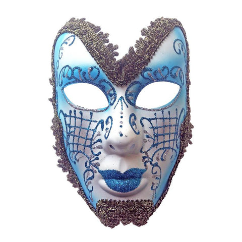 White And Blue Trimmed Volto Masquerade Mask