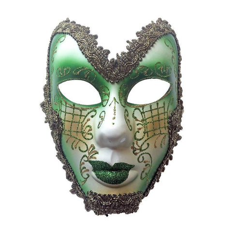White And Green Trimmed Volto Masquerade Mask