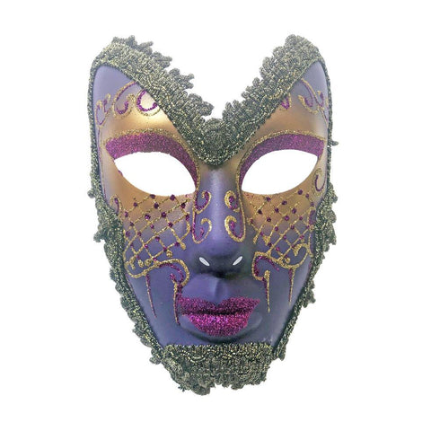 Purple And Gold Trimmed Volto Masquerade Mask