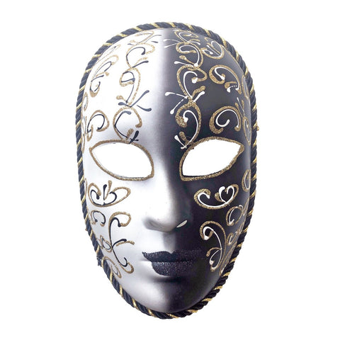 Black and White Volto Masquerade Mask With Gold Detail black, fancy dress, full face, masks, masquerade, venetian, volto, white, womens